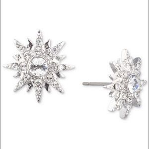 Givenchy Silver-Tone Crystal Star Button Earrings